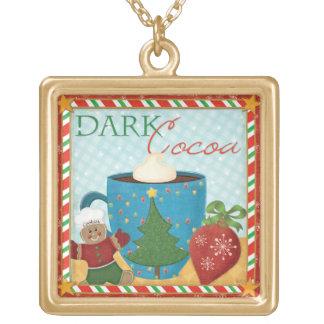 Collier Plaqué Or Tasse rouge de Noël avec du cacao crémeux