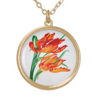 Collier Plaqué Or Tulipes de perroquet