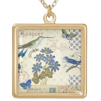 Collier Plaqué Or Un bouquet des fleurs, des oiseaux et des