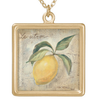 Collier Plaqué Or Un fruit jaune de citron