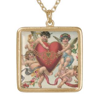 Collier Plaqué Or Valentines victoriens vintages, coeur d'anges