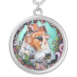 Collier Portrait antique de Fox Terrier de fil