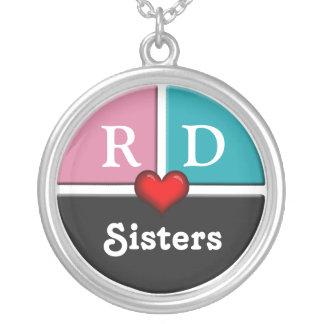 Collier rond de soeurs de tranche rose et bleue