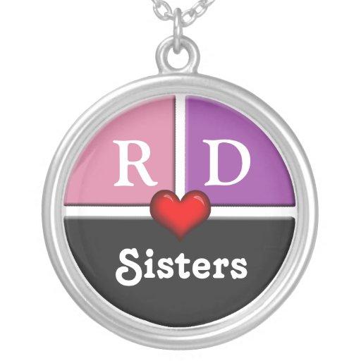 Collier rond de soeurs de tranche rose et pourpre