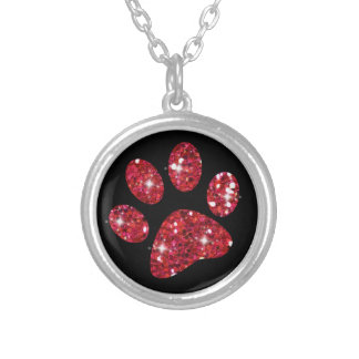 Collier rouge scintillant de patte de chat de