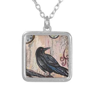 Collier Steampunk Goth Raven avec des horloges