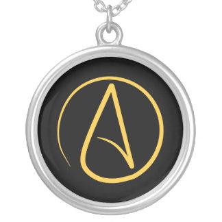 Collier Symbole athée : jaune sur le noir