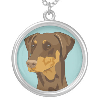 Collier Tête de dobermann, uncropped, rouge