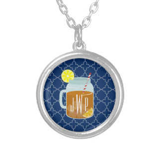 Collier Thé doux décoré d'un monogramme de pot de maçon -