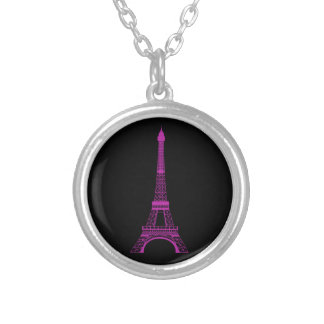 Collier Tour Eiffel pourpre