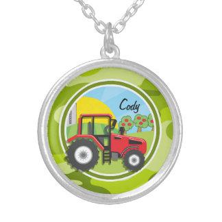Collier Tracteur rouge ; camo vert clair, camouflage