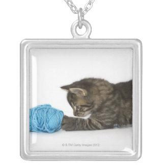 Collier Un jeune chaton tigré jouant avec la laine