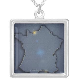 Collier Une représentation bleue simple de carte du