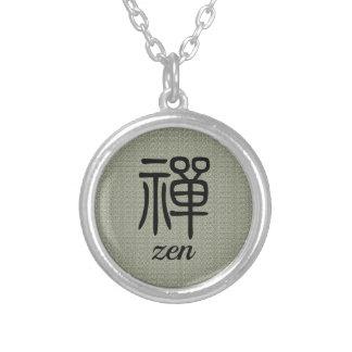 Collier Vert olive de calligraphie chinoise de zen