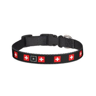 Colliers Pour Animaux Domestiques Monogramme gentil de noir de drapeau de la Suisse