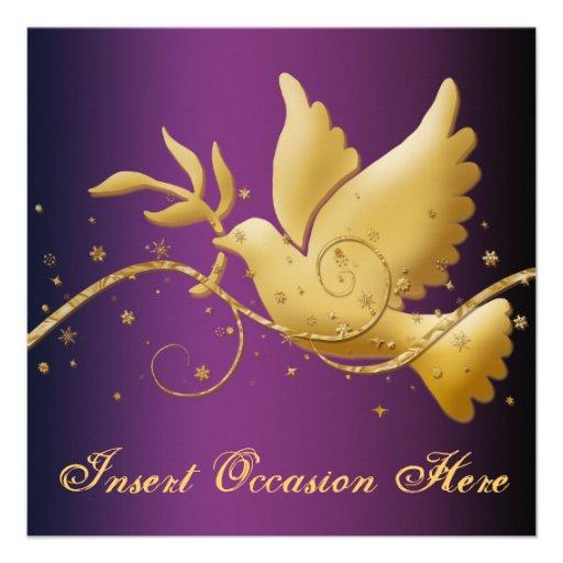 Colombe de Noël de paix religieuse Cartons D'invitation Personnalisés