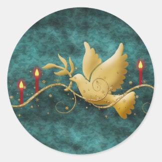 Colombe de Noël d'or des bougies de paix Sticker Rond