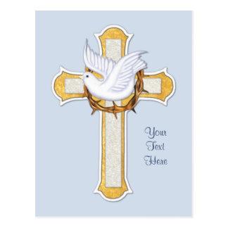 Colombe et croix carte postale