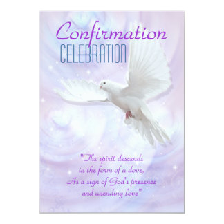 Colombe religieuse de confirmation carton d'invitation  12,7 cm x 17,78 cm