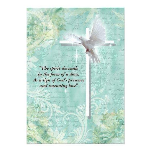 Colombe religieuse de confirmation cartons d'invitation