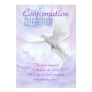 Colombe religieuse de confirmation cartons d'invitation personnalisés