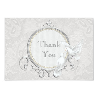 Colombes blanches et épouser de Merci de dentelle Carton D'invitation 8,89 Cm X 12,70 Cm