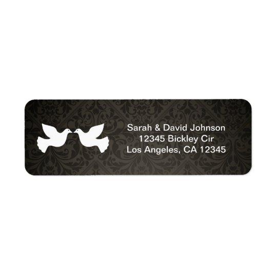 Colombes d'amour avec la damassé noire et grise étiquette d'adresse retour