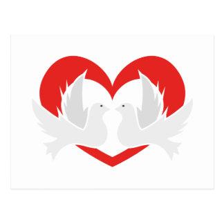 Colombes de paix d'illustration avec le coeur carte postale