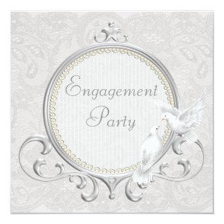 Colombes et partie de fiançailles blanches de carton d'invitation  13,33 cm