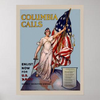 Colombie appelle l'enrôlement vintage de l'armée affiche