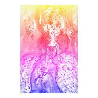 COLOMBINA/mascarade vénitienne masque le bleu rose Papier À Lettre Customisé