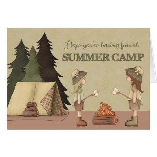 Colonie de vacances pensant à vous, campeurs de carte de vœux