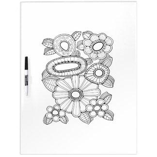 Coloration florale d'adulte du jet cinq tableau blanc effaçable à sec