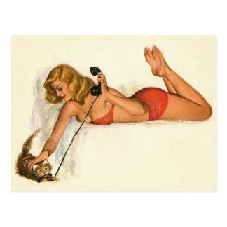 Coloration originale 19 de fille de pin-up vintage carte postale