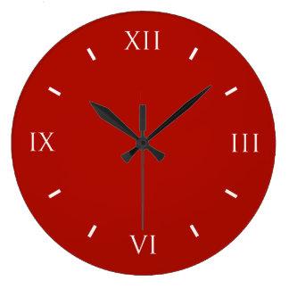 Coloré à extrémité élevé rouge de textile grande horloge ronde
