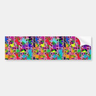 Coloré abstrait fait de soupe à alphabet badine autocollant de voiture