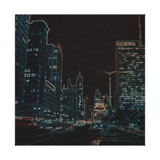 Coloré au néon de la nuit 1967 d'avenue de Chicago Toile