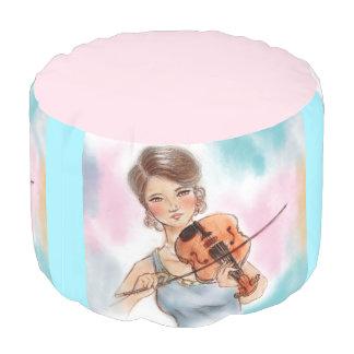 Coloré illustré autour du pouf - violon