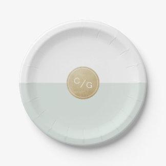 Colorez le monogramme moderne minimaliste editable assiettes en papier