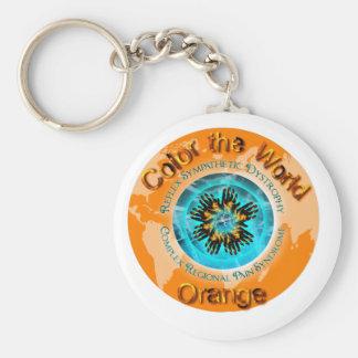 Colorez l'orange du monde - la double glace porte-clé rond