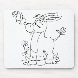 Colorez-moi âne et oiseau tapis de souris
