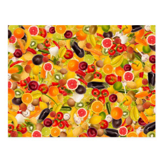 Colorful background of fruits and vegetables cartes postales