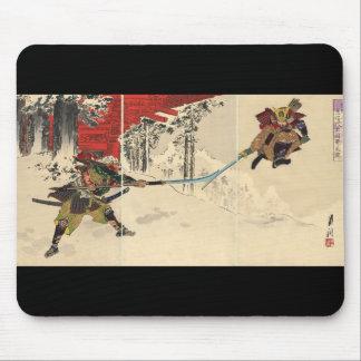 Combat de samouraïs dans la neige circa 1890 tapis de souris