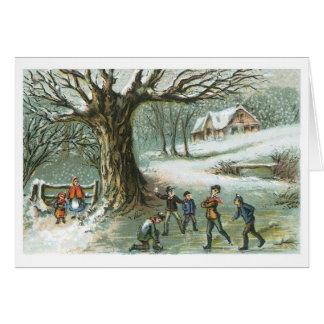 Combat de Snowball - carte vintage de vacances