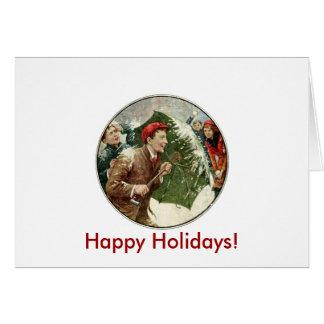 Combat de Snowball de vacances Carte De Vœux