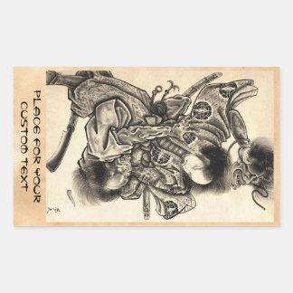 Combat japonais vintage classique frais de démon d sticker en rectangle