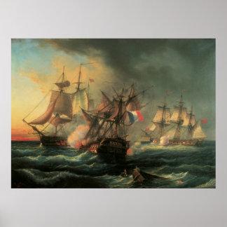 Combat naval - droits de l'homme et infatigable poster