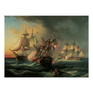 Combat naval - droits de l'homme et infatigable posters
