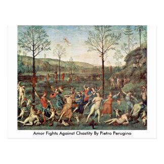 Combats d'Amor contre la chasteté par Pietro Cartes Postales