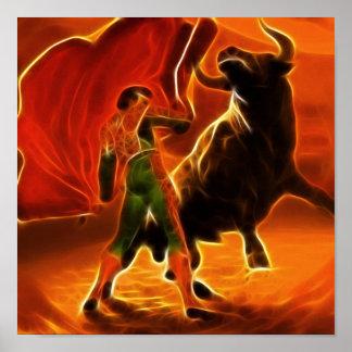 Combattant et EL Toro de Taureau Poster